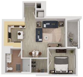 A6  - 1 Bedroom 1 Bath Floor Plan Layout - 643 Square Feet