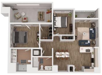 B3 - 2 Bedroom 2 Bath Floor Plan Layout - 1126 Square Feet