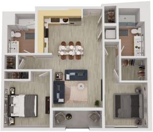 B6 - 2 Bedroom 2 Bath Floor Plan Layout - 989 Square Feet