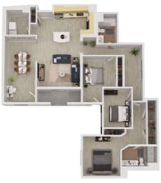 C4 - 3 Bedroom 2 Bath Floor Plan Layout - 1853 Square Feet