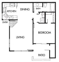 1 Bed 1 Bath B Floor Plan at Elevate at Discovery Park, Arizona, 85283