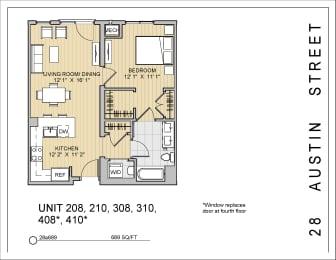 1 Bed 1 Bath 28a689 Floor Plan at 28 Austin St, Massachusetts