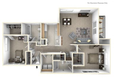 2-Bed/2-Bath, Passion Flower Floor Plan at Killian Lakes Apartments and Townhomes, South Carolina, 29203