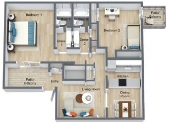 Floor Plan 2 Bed | 2 Bath B