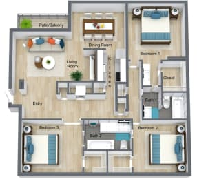 Floor Plan 3 Bed | 2 Bath