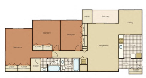 Pines of York Apartment Homes - 3 Bedroom 2 Bath Apartment