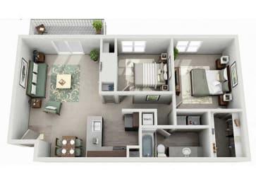 Tech Center Square Apartment Homes - 2 Bedroom 1 Bath Apartment