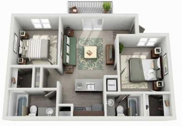 Tech Center Square Apartment Homes - 2 Bedroom 2 Bath Apartment