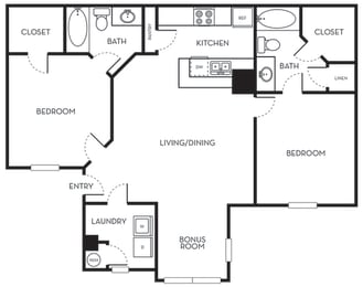 Two Bedroom One Bath Floorplan The Terraces at Lake Mary Florida