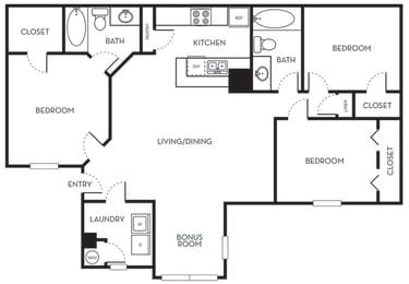 Three Bedroom Two Bath Floorplan The Terraces at Lake Mary Florida