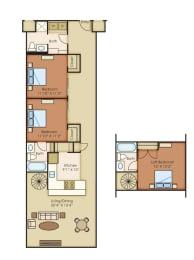 Brenner Penthouse 1395 sf 3 Bedroom 3 Bath