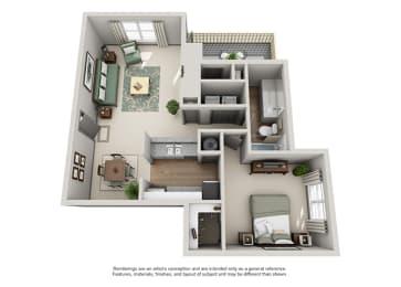 Crosstown at Chapel Hill Apartment Homes - 1 Bedroom 1 Bath Apartment