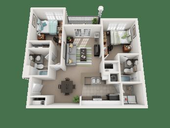 Floor Plan 2 Bedroom 2 Bathroom Deluxe