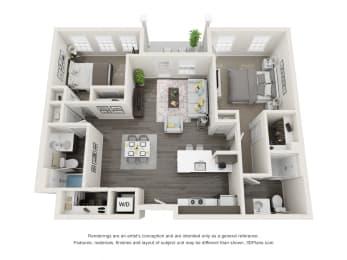 Cedar 2 Bed 2 Bath Floor Plan at Village Place Apartments, Romeoville, Illinois