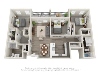 Laurel 3 Bed 2 Bath Floor Plan at Village Place Apartments, Romeoville, IL, 60446