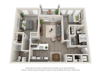 Sycamore 2 Bed 2 Bath Floor Plan at Village Place Apartments, Romeoville, 60446