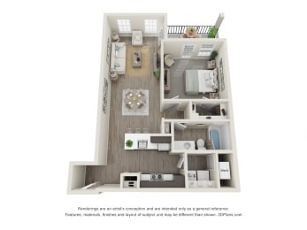 One Bed One Bath Floor Plan at 24 at Bloomfield, Michigan, 48302