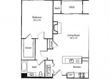 Davenport - 1x1R Floor Plan at Parc Grove, Connecticut