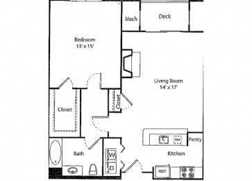 Davenport - 1x1 Floor Plan at Parc Grove, Stamford
