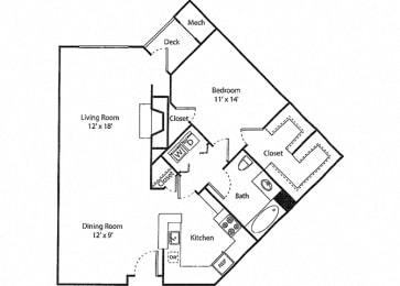 Deerfield - 1x1R Floor Plan at Parc Grove, Connecticut