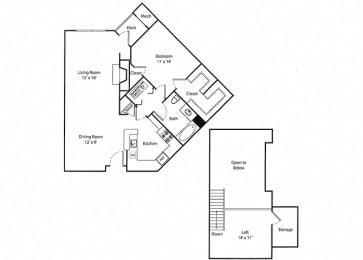 Deerfield Loft - 1x1R Floor Plan at Parc Grove, Stamford, Connecticut