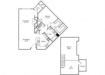 Deerfield Loft - 1x1 Floor Plan at Parc Grove, Stamford, 06901