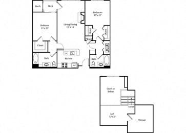 Glenbrook Loft - 2x2 Floor Plan at Parc Grove, Stamford, CT, 06901