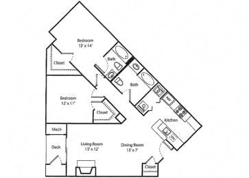 Greyrock - 2x2R Floor Plan at Parc Grove, Stamford, Connecticut