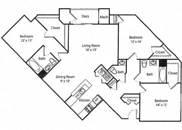 Wakeman - 3x2.5R Floor Plan at Parc Grove, Stamford, Connecticut