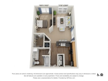A1 Studio 1Bath Floor Plan