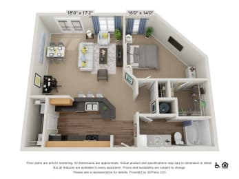 B10 1 Bed 1 Bath Floor Plan