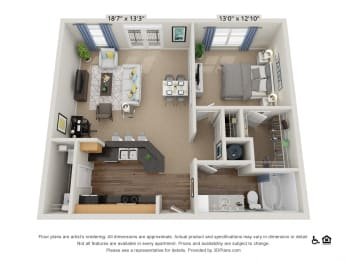 B9 1 Bed 1 Bath Floor Plan