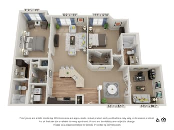 F2 2 Bed 2 Bath Floor Plan