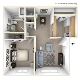 Modified One Bedroom Floor Plan at West Wind Apartments, Fort Wayne, Indiana