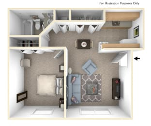 One Bedroom Standard Floor Plan at West Wind Apartments, Indiana, 46808
