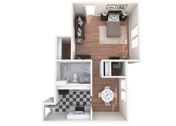Hayes House - A1a - Studio and 1 bath - 3D