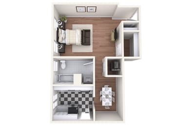 Hayes House - A1b - Studio and 1 bath - 3D