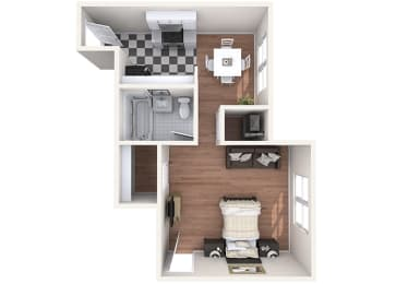 Hayes House - A1c - Studio and 1 bath - 3D