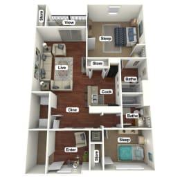 Floor Plan 3 Bed | 2 Bath B