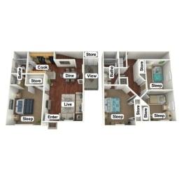 Floor Plan 4 Bed | 2 Bath