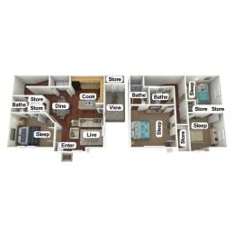 Floor Plan 4 Bed | 2.5 Bath