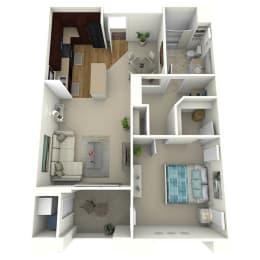 1 Bed 1 Bath The Avenue Floor Plan at Meridian Place, Northridge, CA, 91324