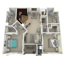 2 Bed 2 Bath The Parkway Floor Plan at Meridian Place, Northridge, 91324