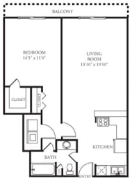 A1 Floor Plan at Memorial Towers Apartments, The Barvin Group, Houston, Texas