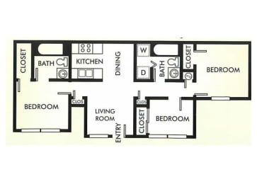 Floor Plan THREE BEDROOM / TWO BATH