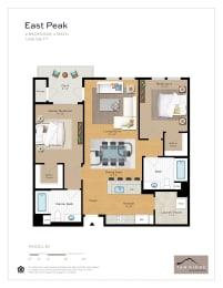 East Peak - 2 Bedroom 2 Bath Floor Plan Layout - 1081 Square Feet
