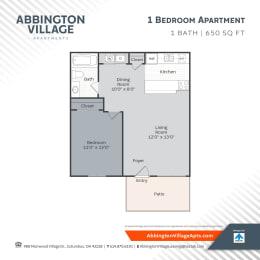 A1 Floor Plan at Abbington Village Apartments, Columbus
