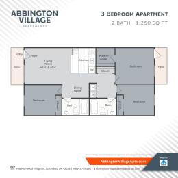 C1 Floor Plan at Abbington Village Apartments, Columbus, OH, 43228