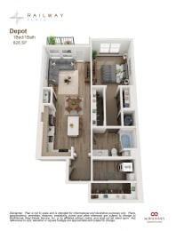 Depot Floor Plan - 1 Bed/1 Bath