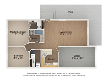 One Story Townhome floor plan image